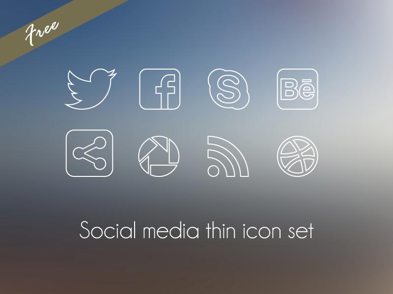 Social media thin icon set by Martaxrodriguez