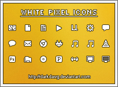 White Pixel Icons by darkdawg