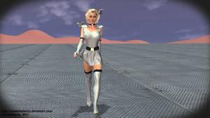 Silver Space Girl Walking to Ships