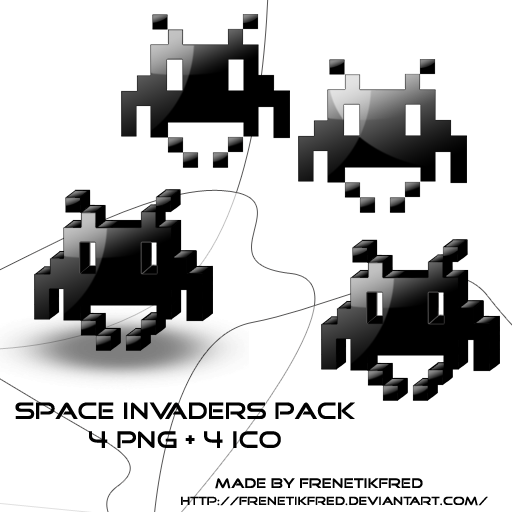 space invaders icons by frenetikfred on deviantart. Black Bedroom Furniture Sets. Home Design Ideas