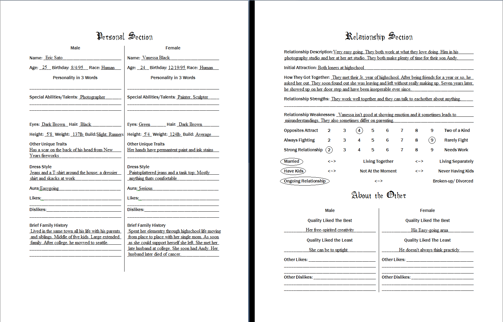 Character information sheet -  Couple S Character Info Sheet By Rose Vi Britannia