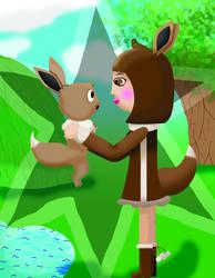 Eevee and Human Eevee by AnimeKatieKitty