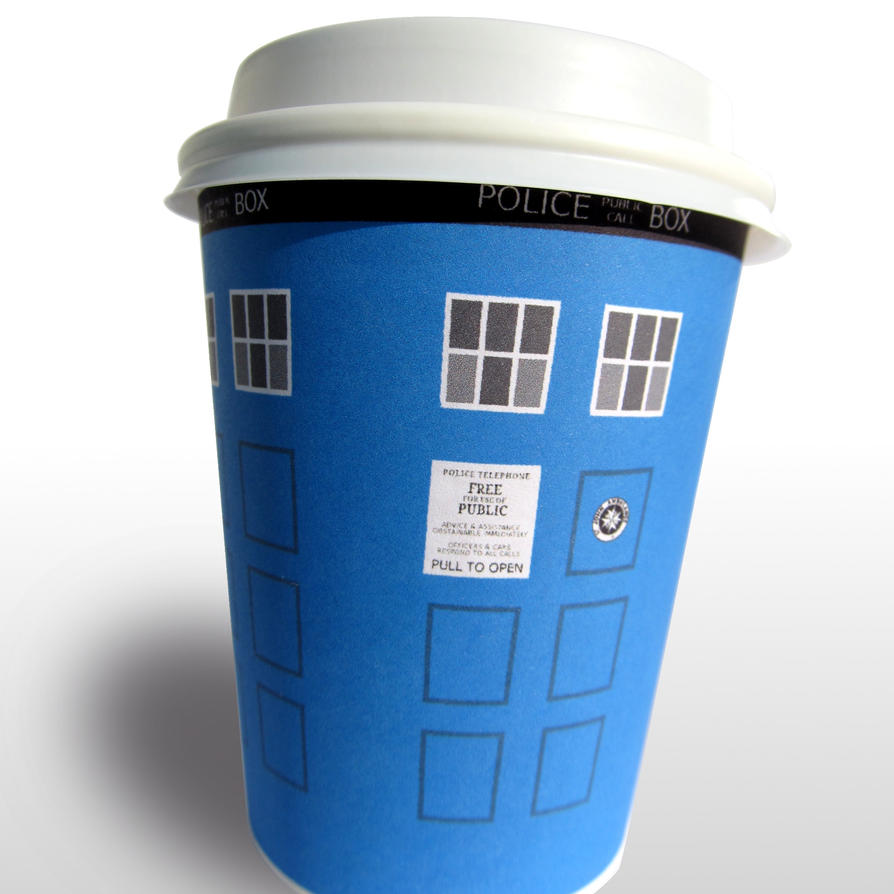 Tardis cover for disposable coffee cups by F-A