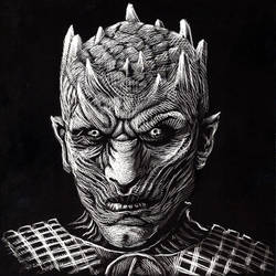 Game of Thrones night King scratchboard illustrati by KurtBrugel