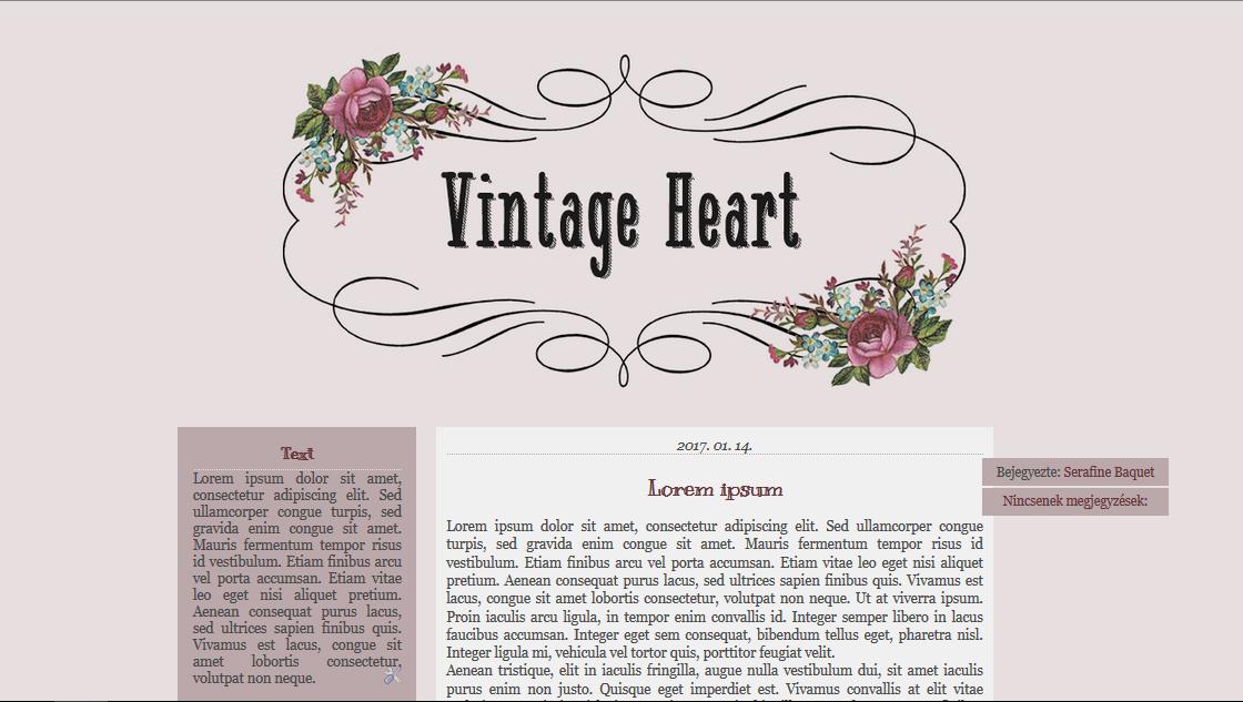 Vintage heart - blogger template by SerafineBaquet