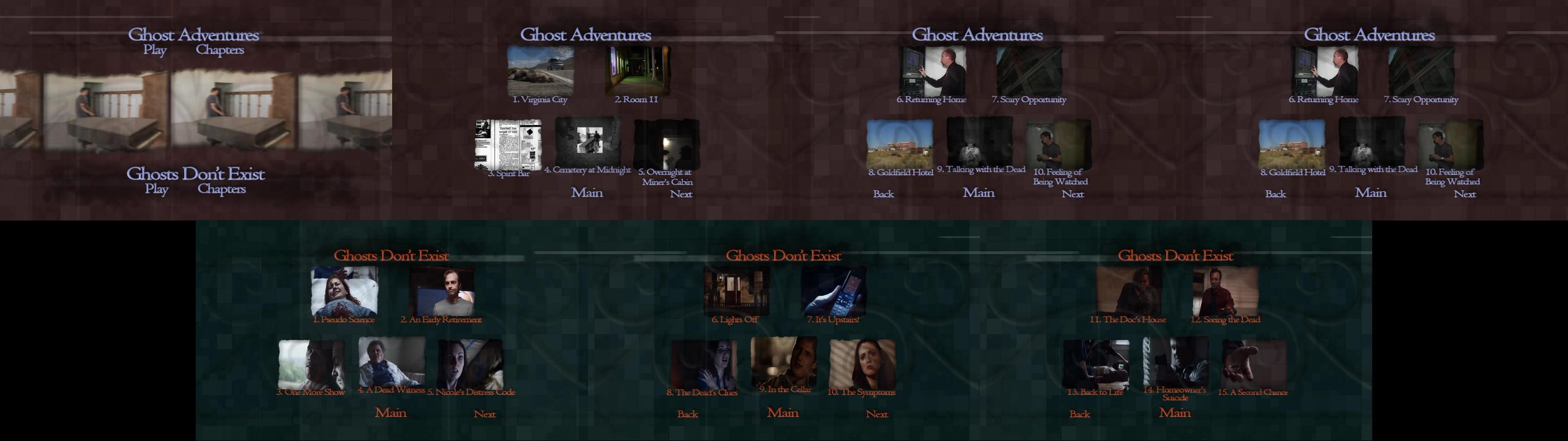 Ghost Adventures (Documentary) DVD Menus