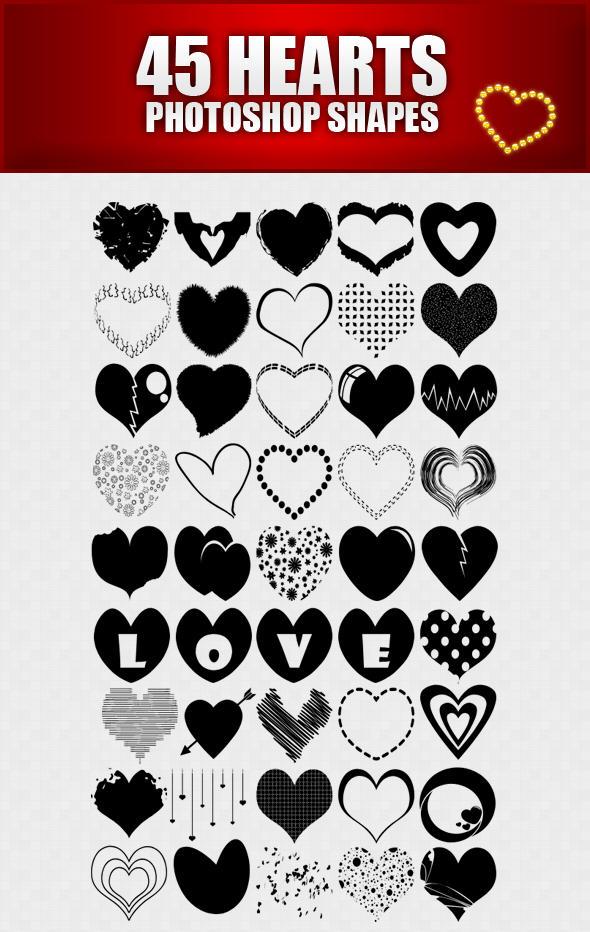 hearts shapes for photoshop by sarthony on deviantart