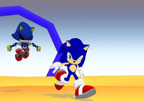 Metal Sonic chases sonic by mitchika2