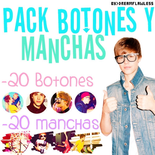 Pack Botones y Manchas Justin Bieber by Dreamflawless
