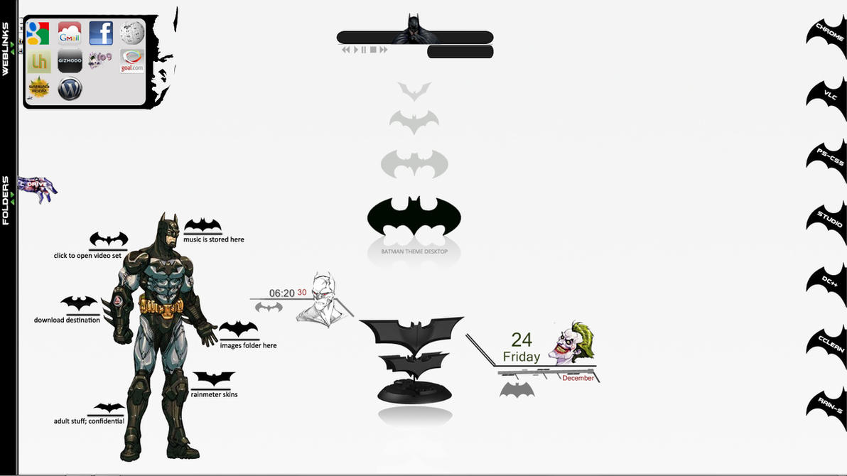 Batman Rainmeter Skins by scrollsofaryavart