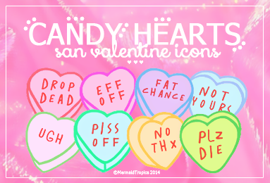 Candy Hearts Icons - .png and .ico by MermaidTropics