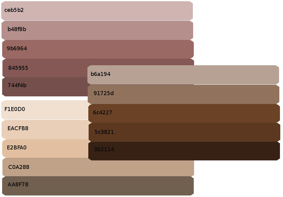 Shades Of Brown Skin Skin shades palettes by