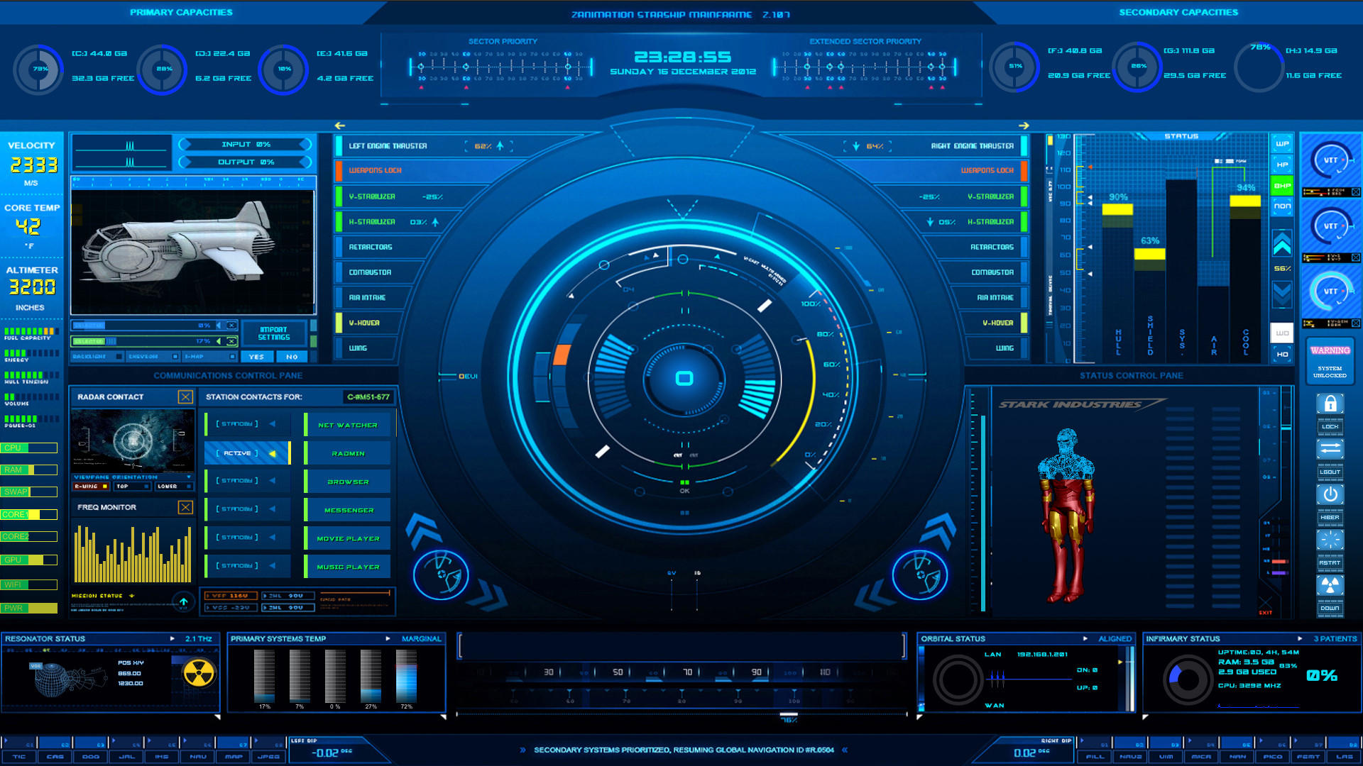 Animated 3d wallpaper jarvis interface - Rainmeter Mainframe By Heynahanzo