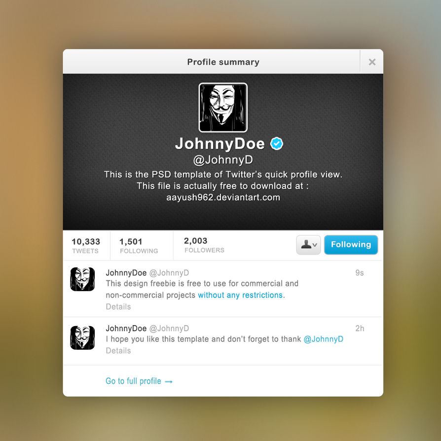 Modern Twitter Template Psd Crest - Professional Resume Examples ...