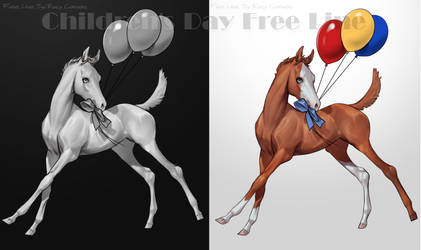 Children's Day Free Line Foal and balloons