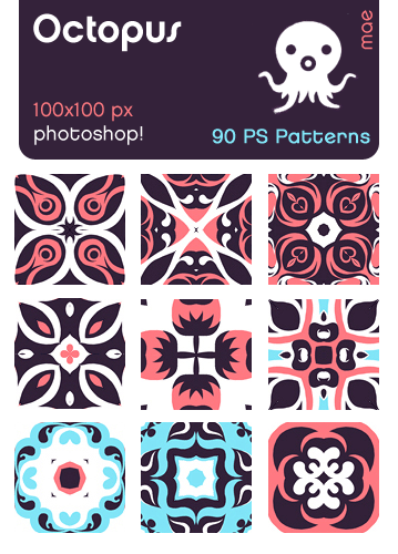 octopus photoshop patterns set by mae