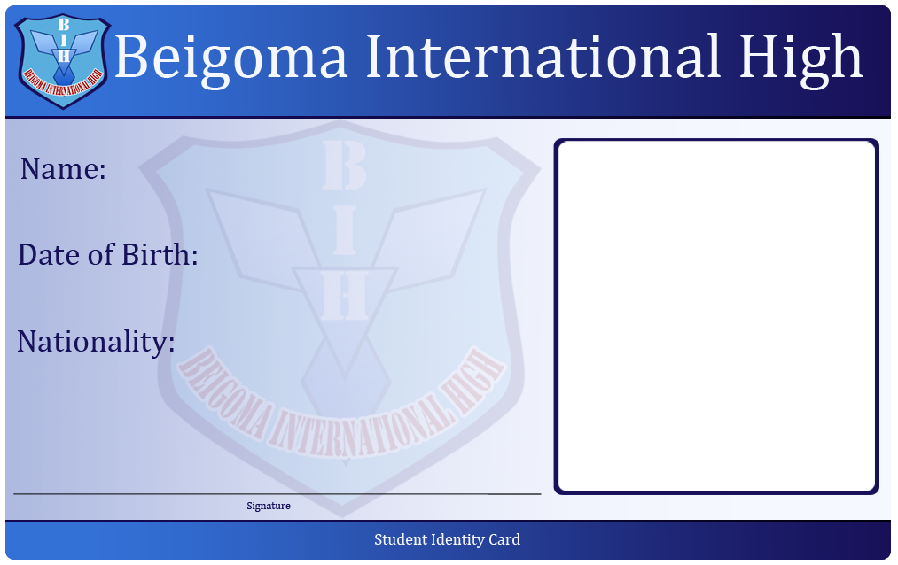 Bih Student Id Card Template By