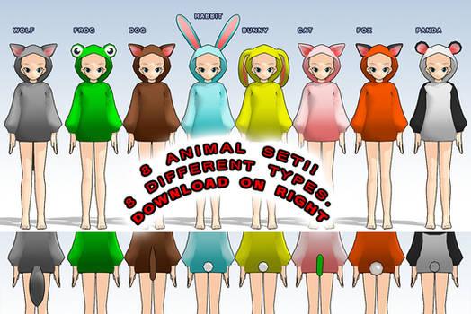 MMD- Animal Snugglie Set -DL by MMDFakewings18