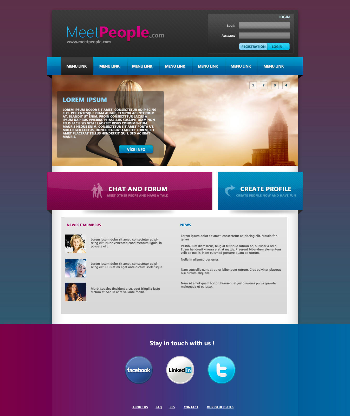 Website Psd Template In 3 Colors: MeetPeople Web Template PSD By Martz90 On DeviantArt