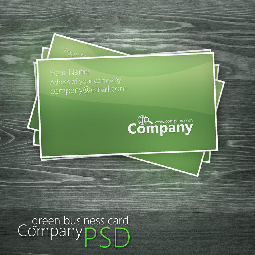 Green Business Card PSD By Martz On DeviantArt - Business card photoshop template