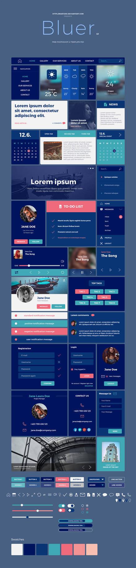 Bluer - Free UI Kit PSD