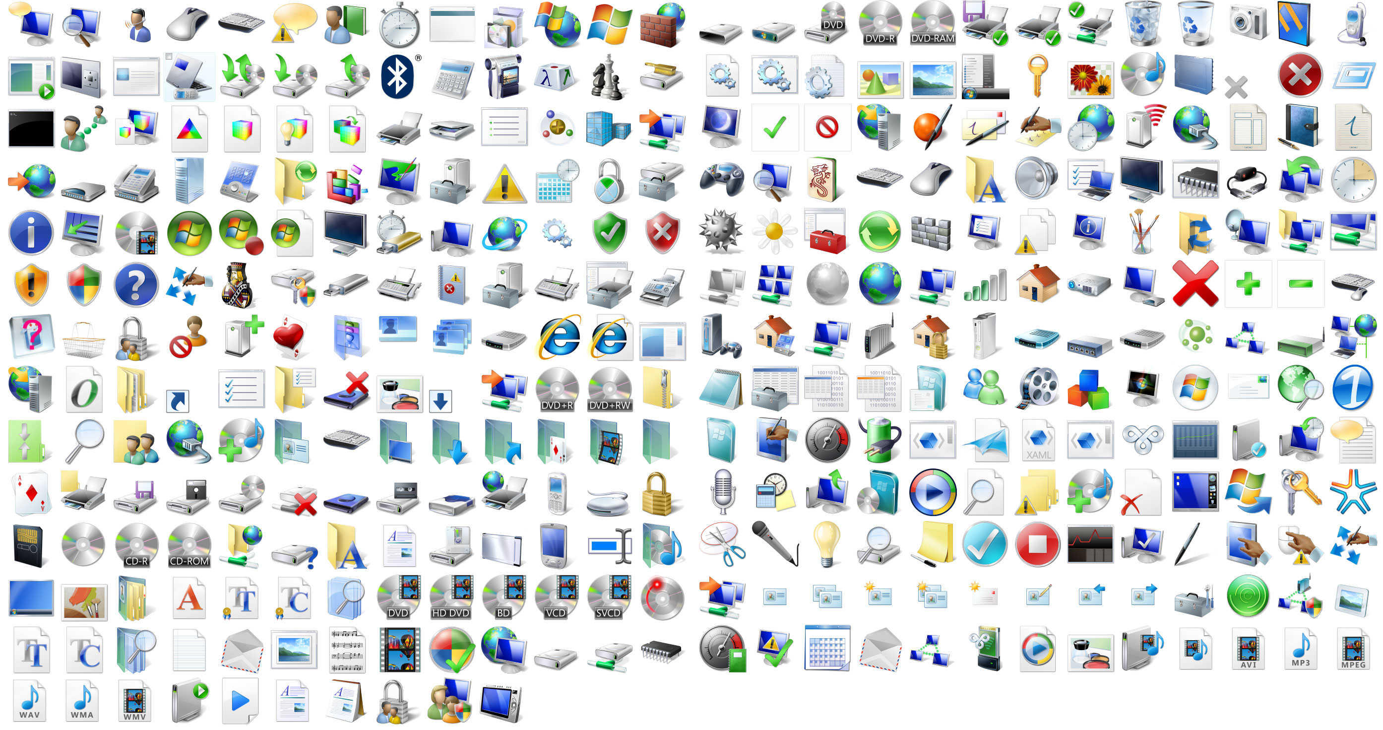 icons on windows xp: