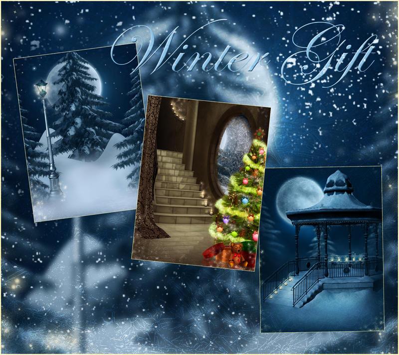 Winter Gift backgrounds by moonchild-ljilja