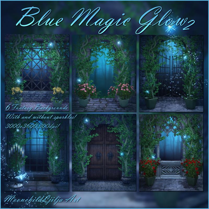 Blue Magic Glow 2 backgrounds by moonchild-ljilja