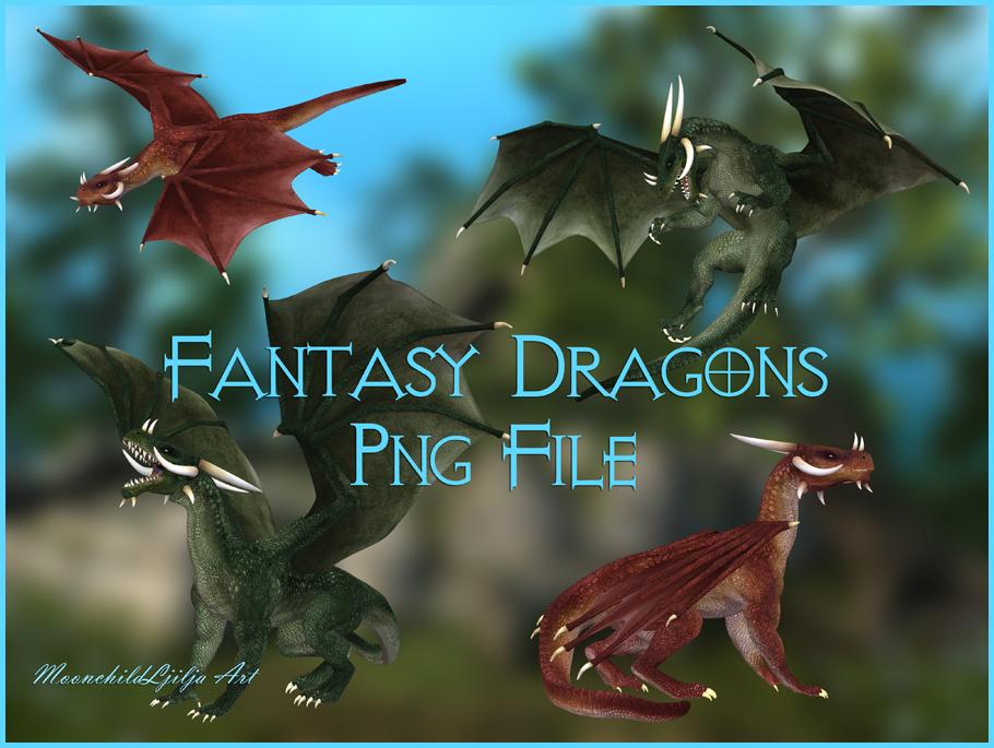 Fantasy Dragons png by moonchild-ljilja