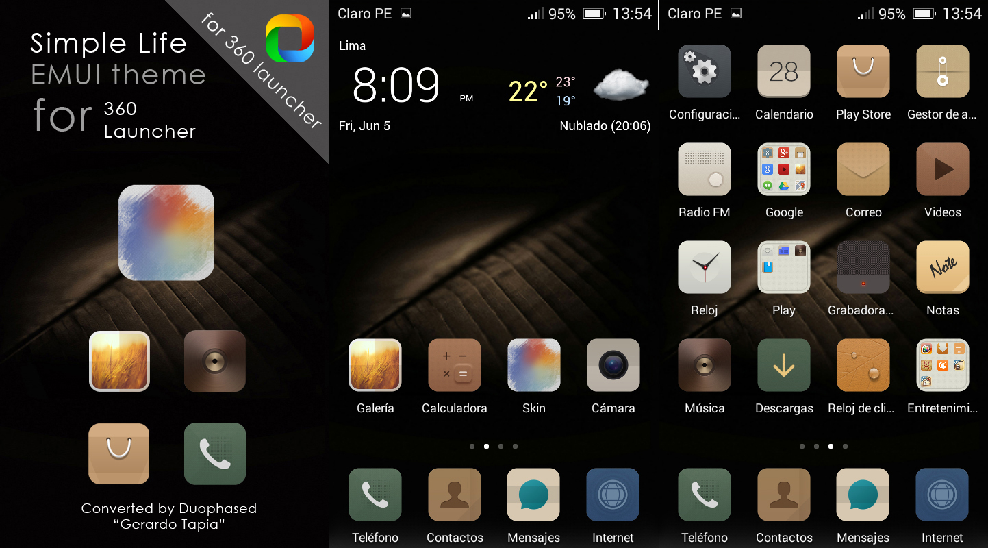 Simple Life EMUI theme for 360 Launcher by Duophased on