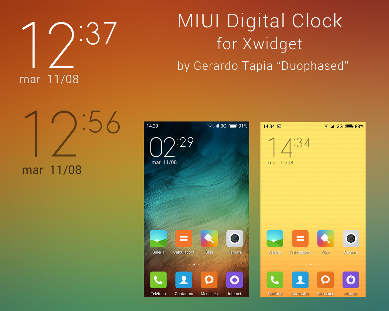 MIUI v6 clock widget for Xwidget by Duophased on DeviantArt