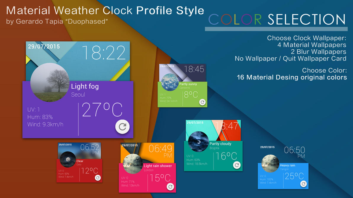 Material Profile Weather Clock by Duophased