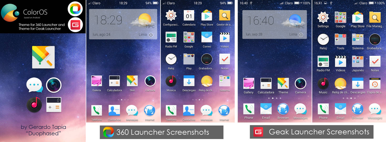Color OS 2 1 Theme for 360 and Geak Launcher by Duophased on DeviantArt