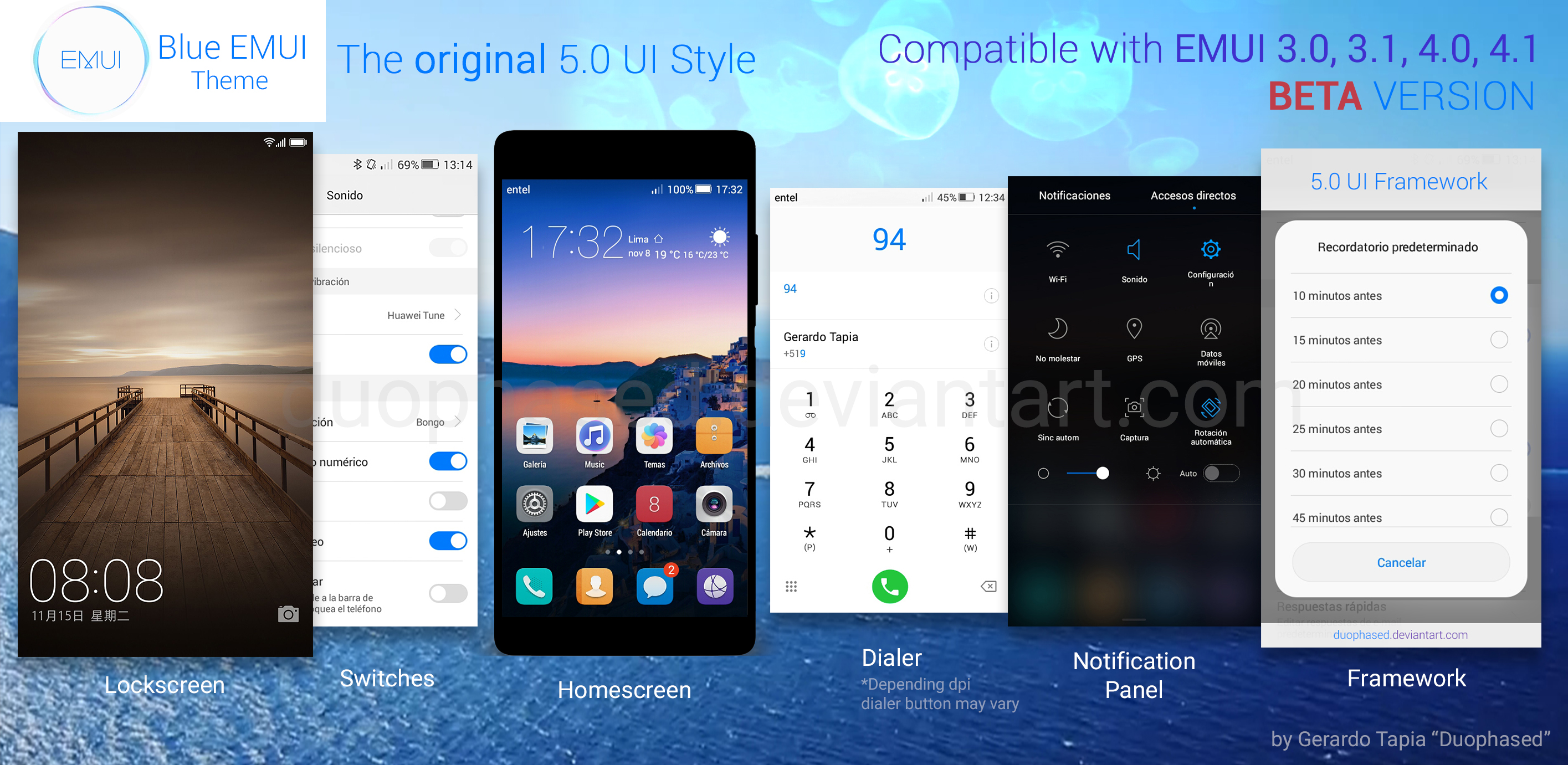 Blue EMUI Theme 5 0 UI by Duophased on DeviantArt