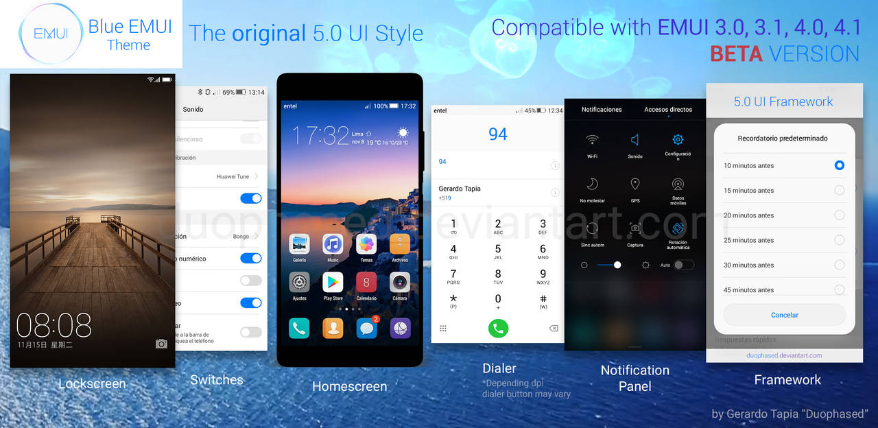Blue EMUI Theme 5.0 UI by Duophased