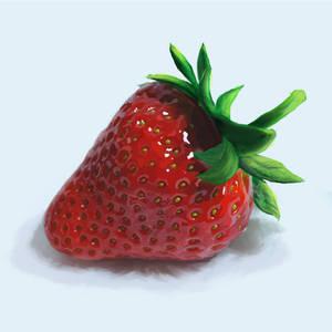 Strawberry in hiperrealism.