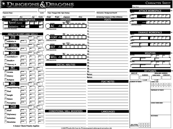 Mesmerizing image regarding dnd printable character sheet