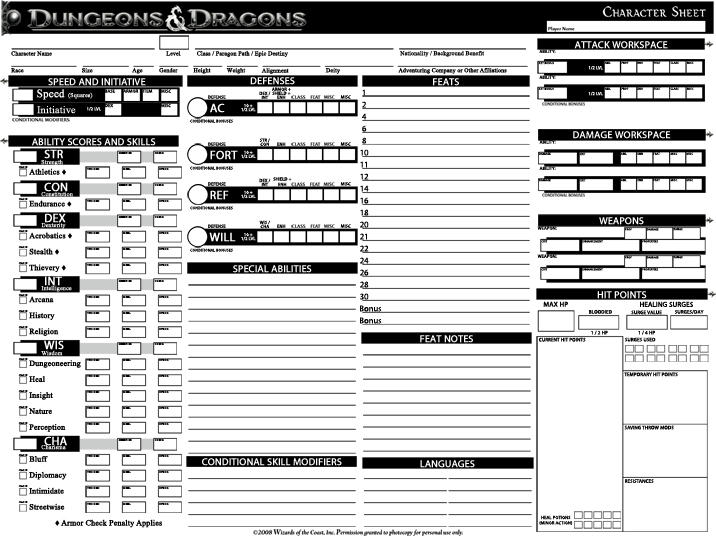 Dungeons and dragons character sheet custom dnd 4e character sheet