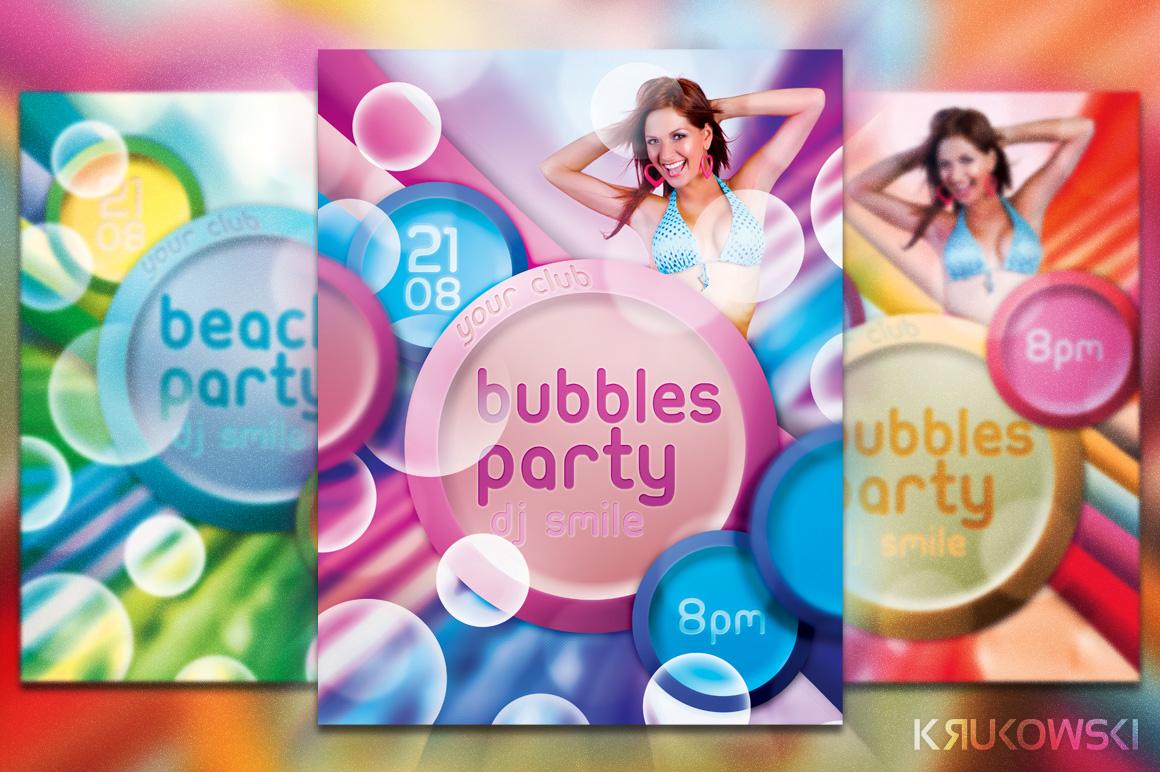 Freebie Bubbles Party Flyer Template by mkrukowski
