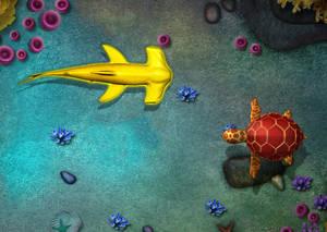 Swming  Hammerhead Shark and Sea turtle