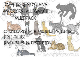 Ultimate Warriors Allegiance Lineart Multipack by DawnfireOfSkyClan
