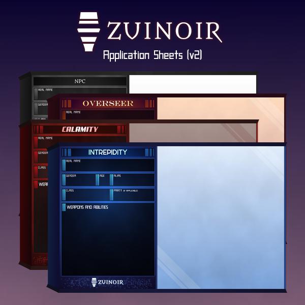Zuinoir Application Sheets v2 by lirodon