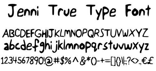 Jenni True Type Font by JenniBee