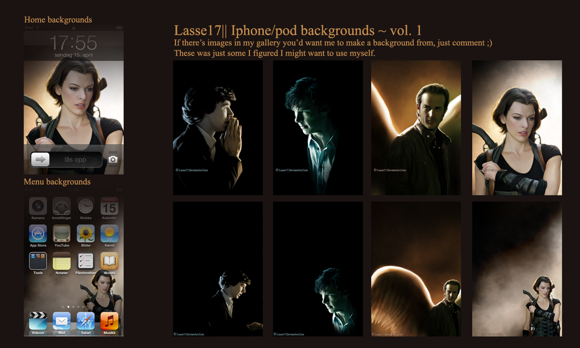 My Iphone/pod backgrounds ~ vol. 1 by Lasse17