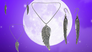 Winged Necklace and Earring Set