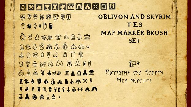 Oblivion and Skyrim Map Marker Brush Set by WinstontheButterfly