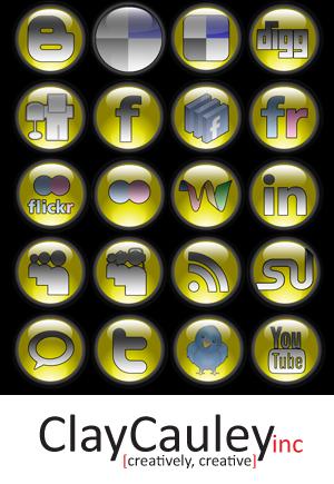 Yellow Orb Social Media Icons by claycauleyinc