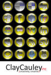 Yellow Orb Social Media Icons