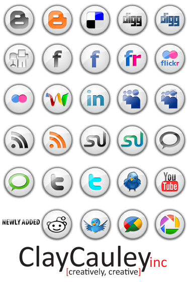 White Button Social Media Icon by claycauleyinc