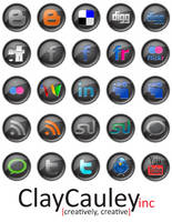 Black Button Social Media Icon by claycauleyinc